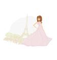 fashion bride in Paris background vector image
