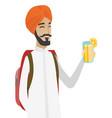 Hindu traveler man drinking cocktail vector image