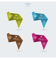 Leaves folded paper origami different color vector image