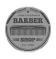 monochrome barber shop vintage label - vector image