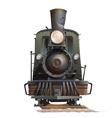 Train locomotive front view Vintage transport vector image