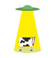 ufo and cow aliens abduct cattle frisbee and farm vector image