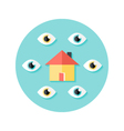 Open House Circle Flat Icon vector image