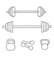 a set of simple dumbbells and barbells isolated on vector image