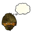 cartoon bearded man with thought bubble vector image