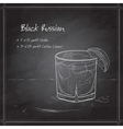 Cocktail Black russian on black board vector image