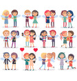 couples on valentine s day on white background vector image
