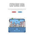 explore usa poster with open suitcase vector image