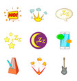 night concert icons set cartoon style vector image