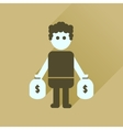 Flat icon with long shadow man bags of money vector image