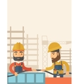 Two builders vector image
