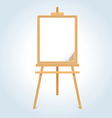 Wooden easel with blank paper sheet vector