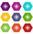 ancient compass icon set color hexahedron vector image