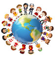children from many countries around the world vector image
