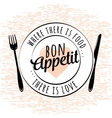 Food related kitchen typography quote Bon Appetit vector image