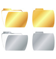 gold and silver open and closed folder icon vector image