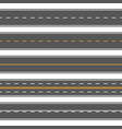 horizontal straight seamless roads modern asphalt vector image