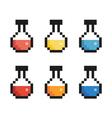 Pixel bottle set vector image