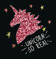 unicorn with slogan fashion glitter print vector image