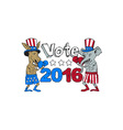 Vote 2016 Donkey Boxer and Elephant Mascot Cartoon vector image