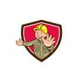 Builder Hand Stop Signal Crest Cartoon vector image