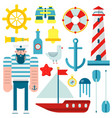 marine nautical sailor symbols and flat vector image