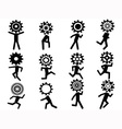 human with gear head icons vector image vector image