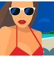 Hello Summer beautiful woman in bikini and vector image vector image