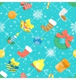 Flat Colorful Christmas Icons Seamless Pattern vector image