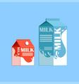 carton boxes of milk fresh and healthy dairy vector image