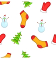 Christmas symbols pattern cartoon style vector image