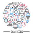 computer game icons in round circle vector image