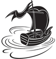 boat with a sail vector image vector image