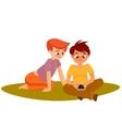 Children playing smartphone gadget addiction vector image