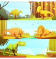 Dinosaurus 3 Horizontal Retro Banners Collection vector image