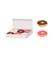 donuts glazed with colorful sugar and chocolate vector image