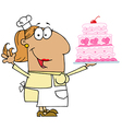 Hispanic Cartoon Cake Baker Woman vector image