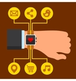 Infographics Arm with a Smartwatch in Flat Design vector image