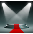 spotlights illuminate the pedestal with red carpet vector image