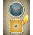 Retro background with clocks and feather vector image vector image