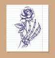 skeleton arm sketch with rose vector image
