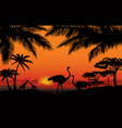 african animal landscape savanna nature sunset vector image