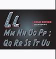 Halloween zombie font raggy alphabet in horror vector image