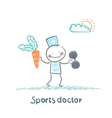 Sports doctor offers a carrot and holding vector image vector image