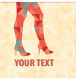 Sexy legs on a triangles pattern vector image