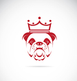 image of bulldog head wearing a crown vector image