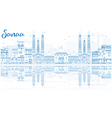 Outline Sanaa Yemen Skyline with Blue Buildings vector image