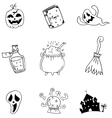Set halloween with hand draw in doodle vector image