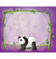 A panda in front of a bamboo frame vector image