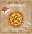 christmas pizza menu vector image